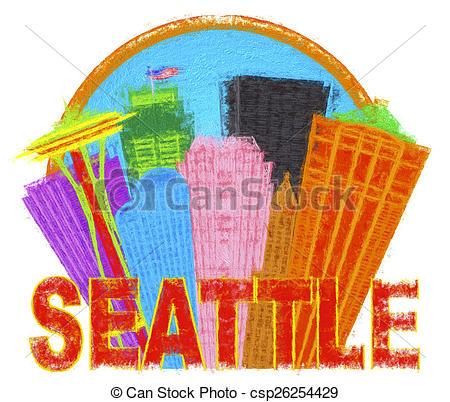 Clip Art of Seattle Abstract Skyline in Circle Impressionist.
