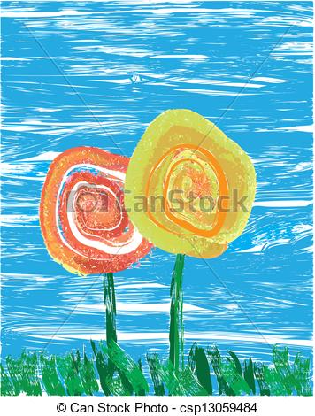 Vector of Impressionist flowers.