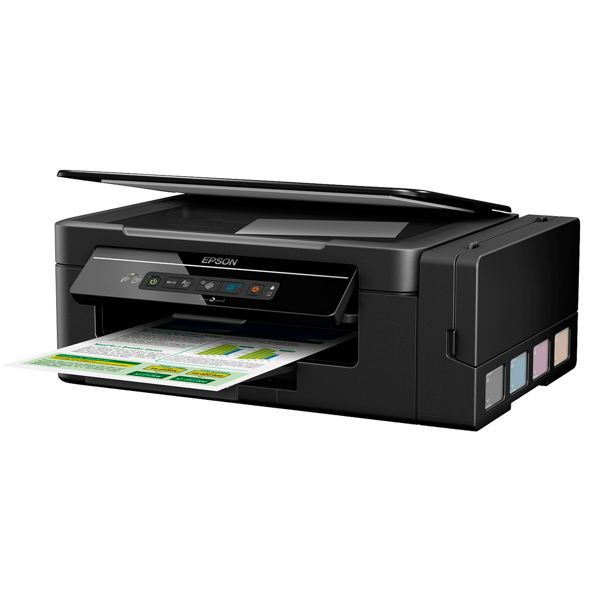 Impressora Epson Multifuncional 3 em 1: imprime, copia e digitaliza.
