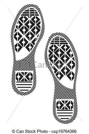 Vector Clipart of imprint soles shoes.