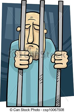 Vector Clipart of cartoon illustration of jailed man.