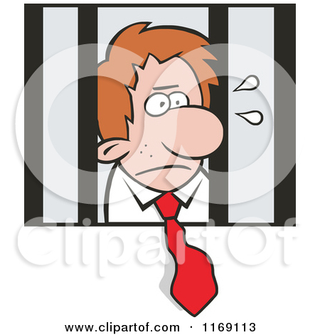 Cartoon of an Imprisoned Businessman with His Tie Hanging out of.