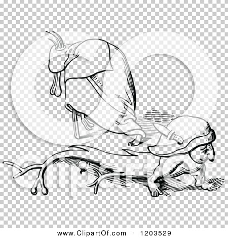 Clipart of Vintage Black and White Imps of Sloth.