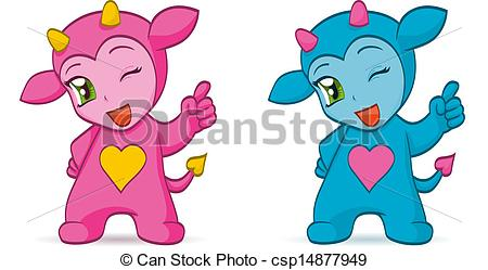 EPS Vector of Cartoon chibi imps.