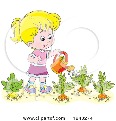 Watering the garden clipart.