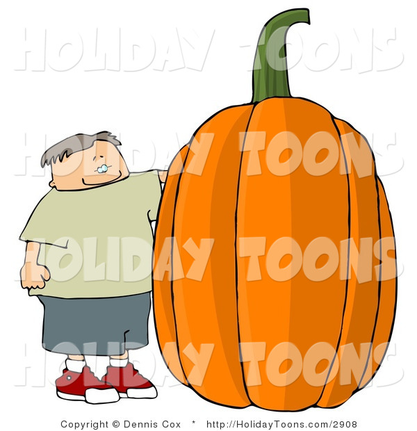 Royalty Free Holiday Clipart of a Smiling Boy Standing Beside a.