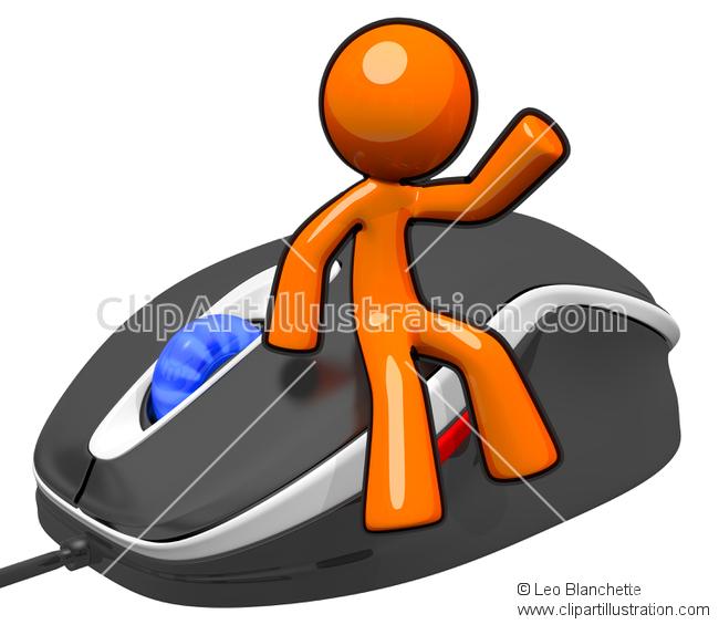 ClipArt Illustration Orange Man Sitting on Giant Mouse Waving.