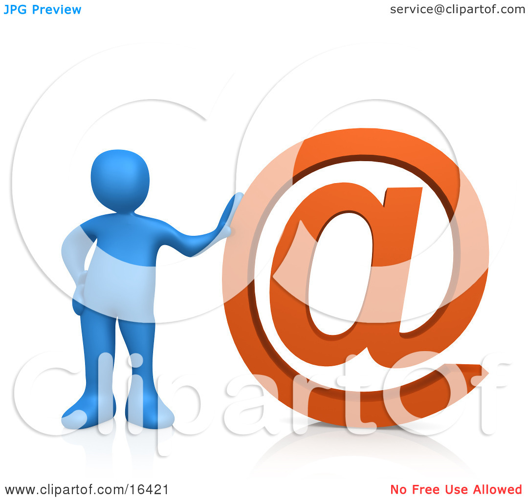 Blue Person Leaning Against a Giant Orange at Symbol Clipart.