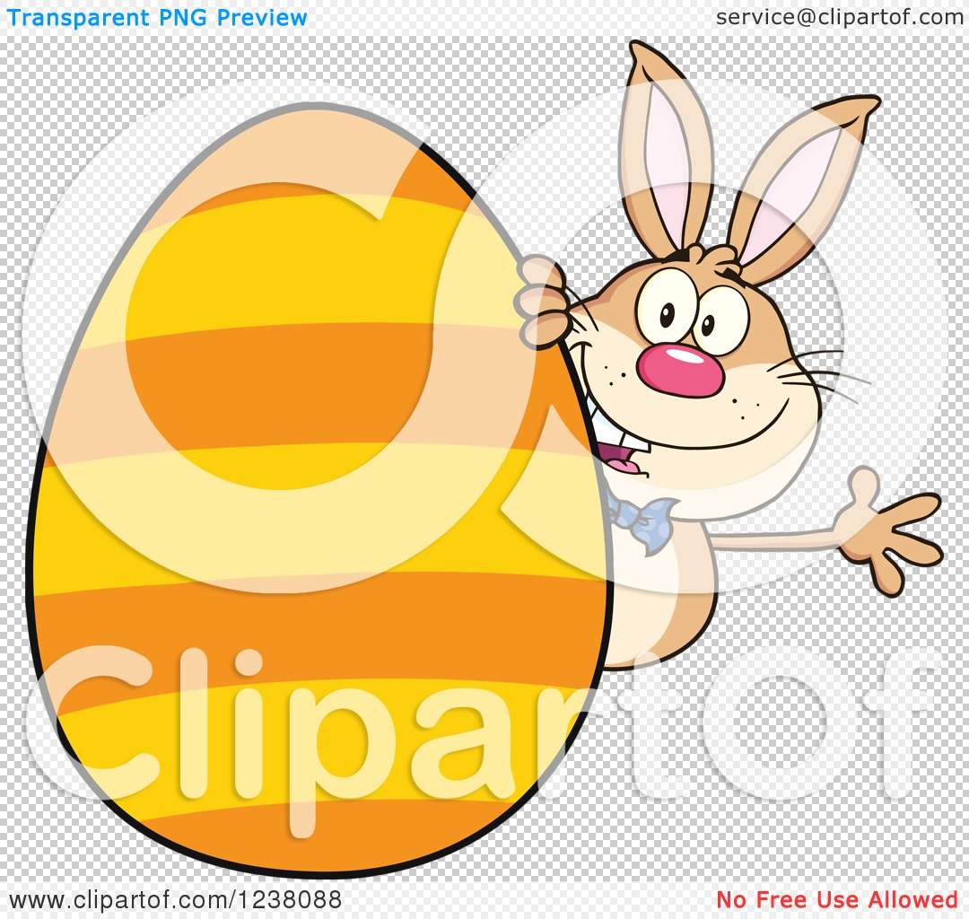 Clipart of a Brown Rabbit Waving Around a Giant Orange Striped.