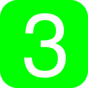 Green Number 3 Clipart.