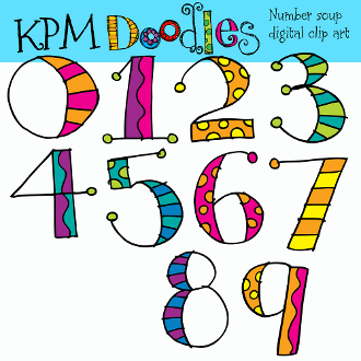 Number Soup Digital Clip Art.
