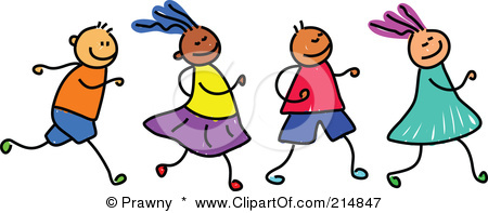 Kids In A Row Clipart.