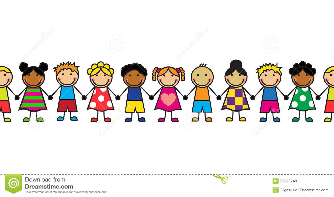 Children In A Row Clipart.