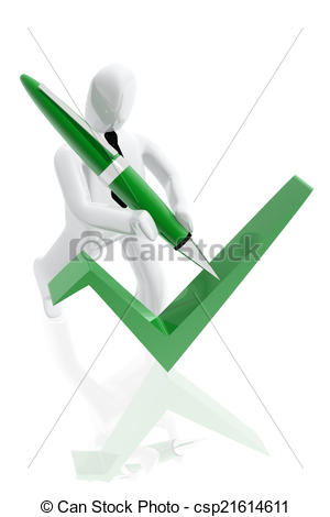 Clipart of Figure signing accordance icon with a ballpoint pen.