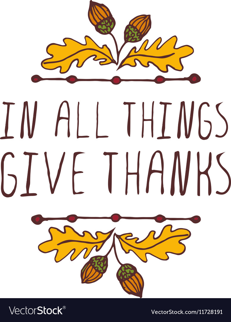 Thanksgiving label with text on white background vector image.