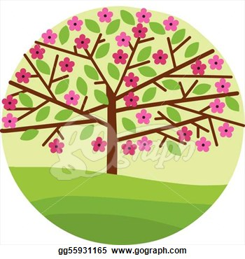 Clip Art Spring Trees In Bloom Clipart.