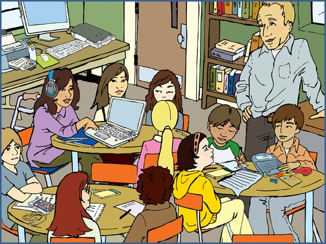 students in class clip art.