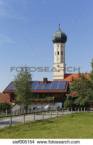 Stock Photo of Germany, Upper Bavaria, Bavaria, Waakirchen, solar.
