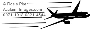 Clipart Image of Black and White Airplane In Flight.