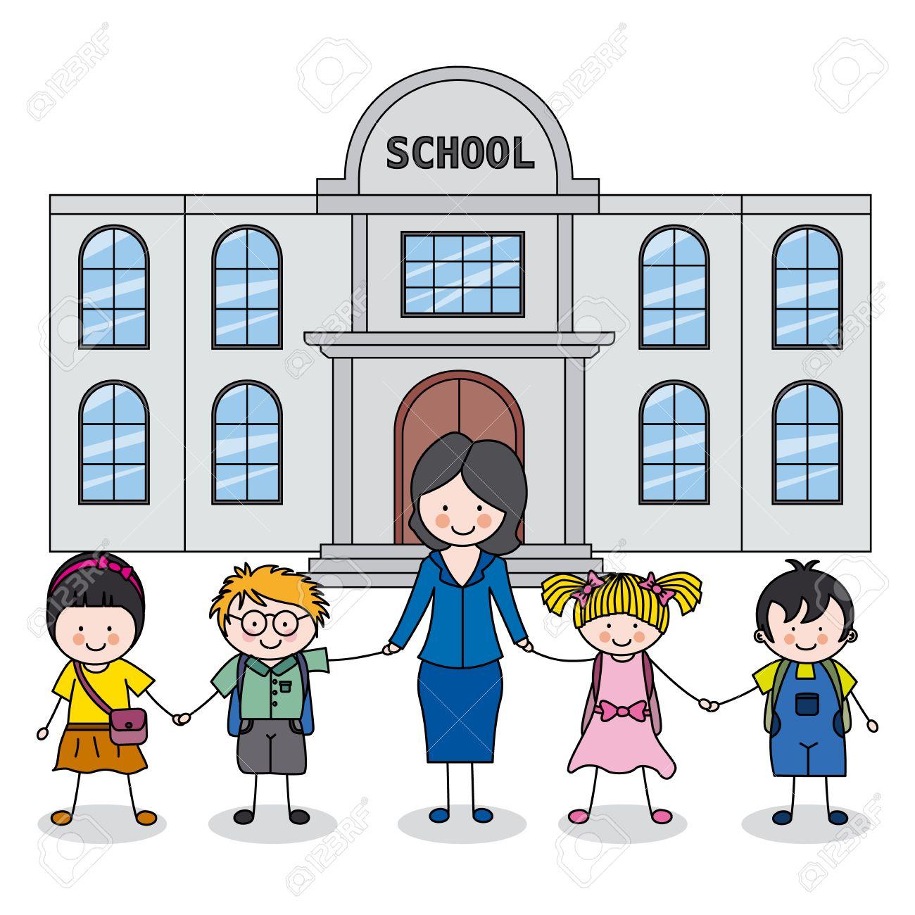 children and teacher in front of the school.