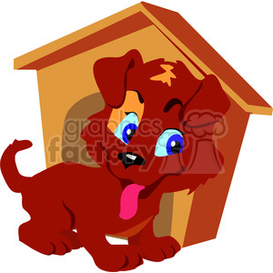 Cartoon brown puppy in front of his dog house clipart. Royalty.