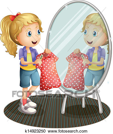 A girl holding a red dress in front of the mirror Clipart.