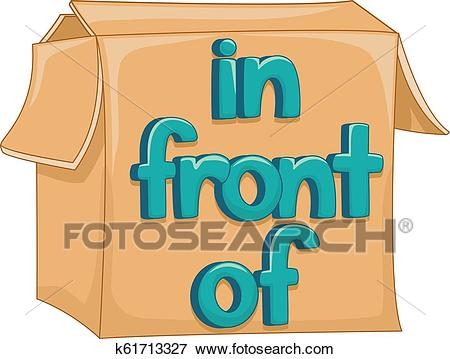 Preposition In Front Of Box Illustration Clip Art.
