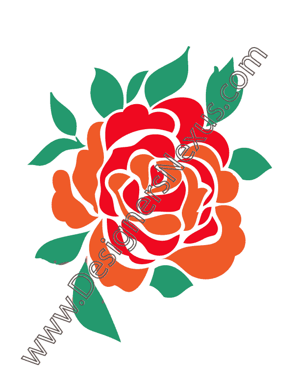 Large Single Rose in Full Bloom with Leaves V3 Vector Graphic.