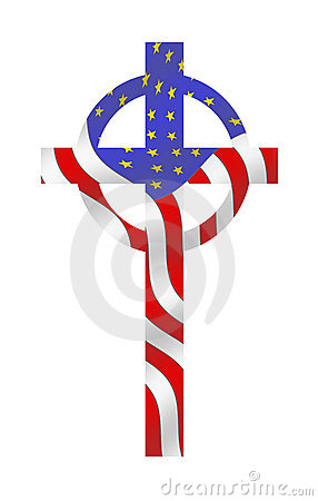Flag Cross, In God We Trust Royalty Free Stock Photography.