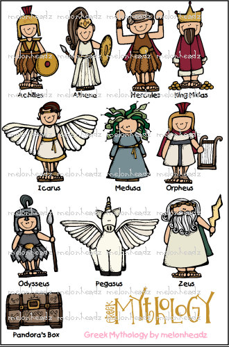 Greek mythology gods clipart.