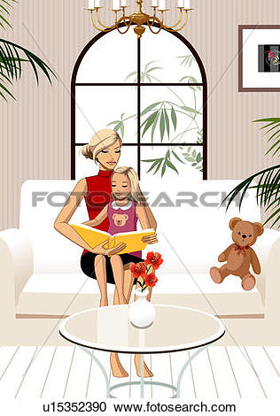 Stock Illustrations of Daughter sitting on mother's lap, reading.