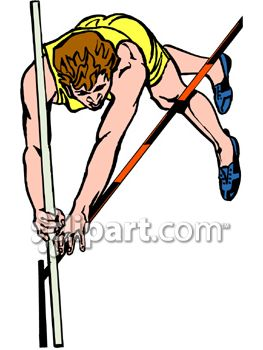 Guy Pole Vaulting in a Track Meet Competition.