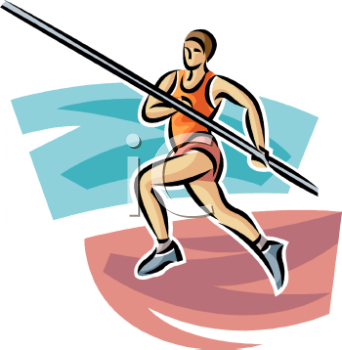 Track and Field Pole Vaulter Running with the Pole.