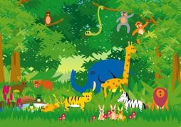 Jungle scene clipart.