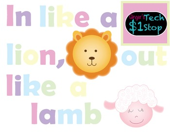 Spring Bulletin Board * In Like a Lion, Out Like a Lamb * Letters * Clipart.