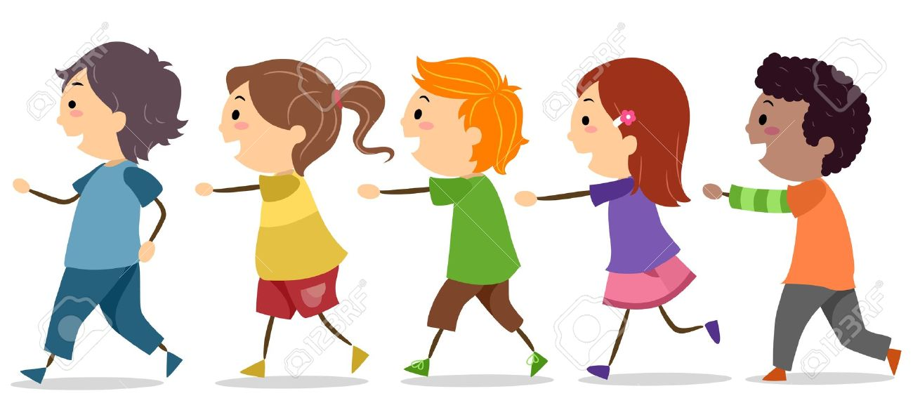 Kids in line clipart.