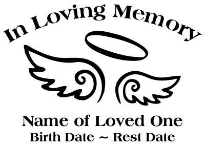 In Loving Memory Angel Wings Halo Decal Sticker.