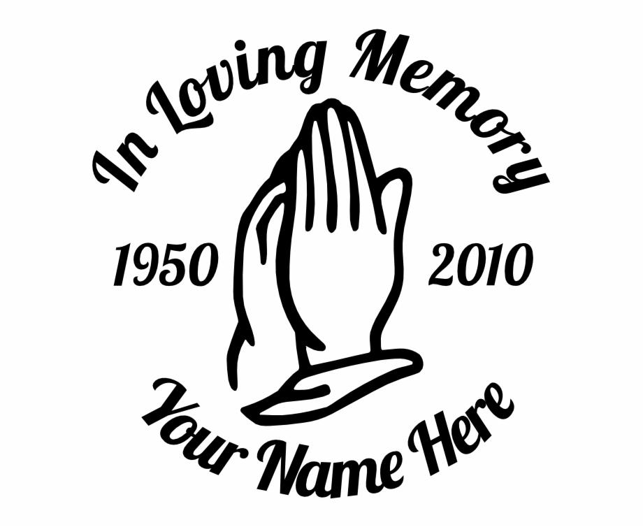 In Loving Memory Praying Hands Sticker.