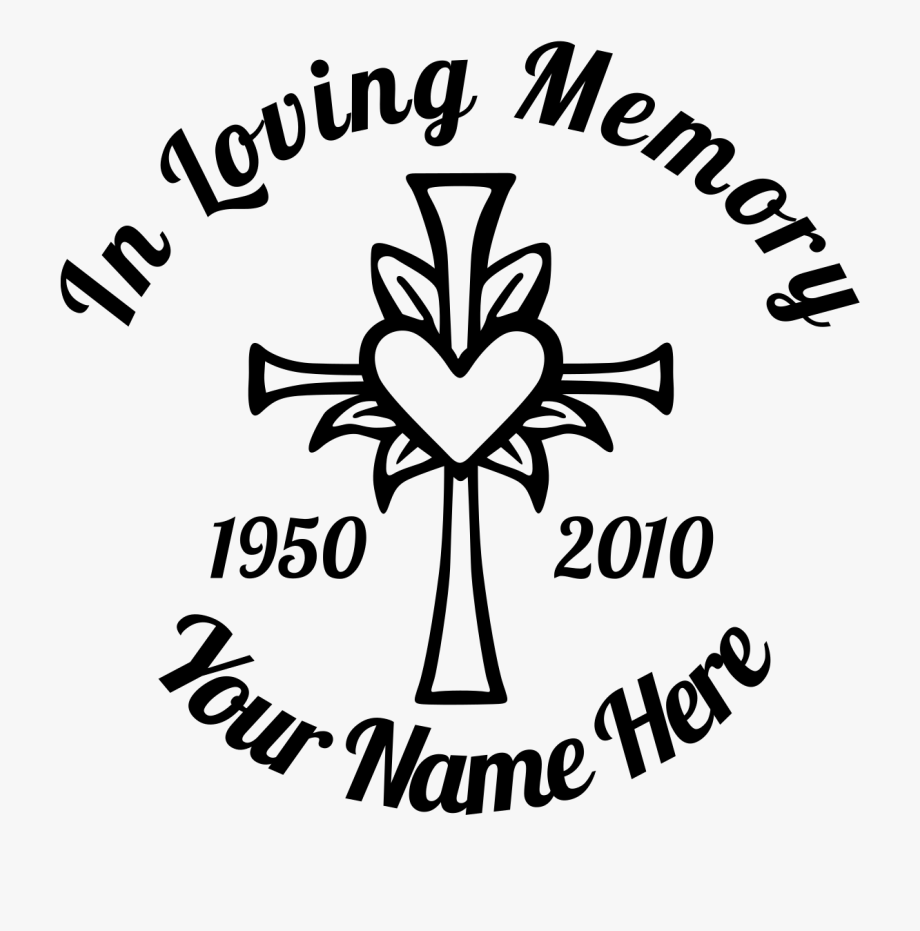 In Loving Memory Cross With Heart Sticker Designer.