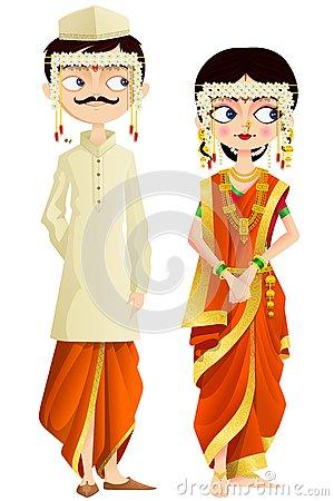 Marathi wedding clipart.