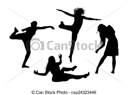 Drawing of people in motion silhouettes set 1.