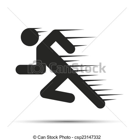Vector Clip Art of Running people in motion. Simple symbol of run.