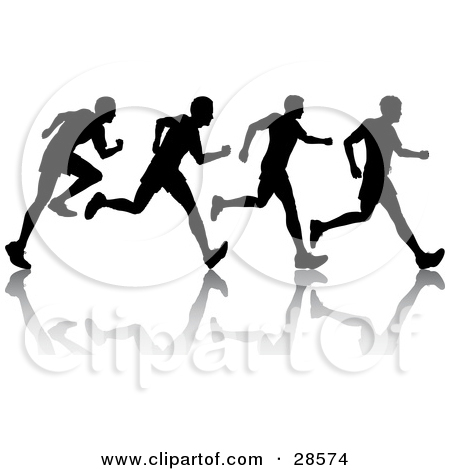 Clipart Illustration of a Black Silhouetted Man Shown In Motion.
