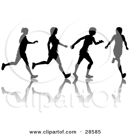 Clipart Illustration of a Black Silhouetted Woman Shown In Motion.