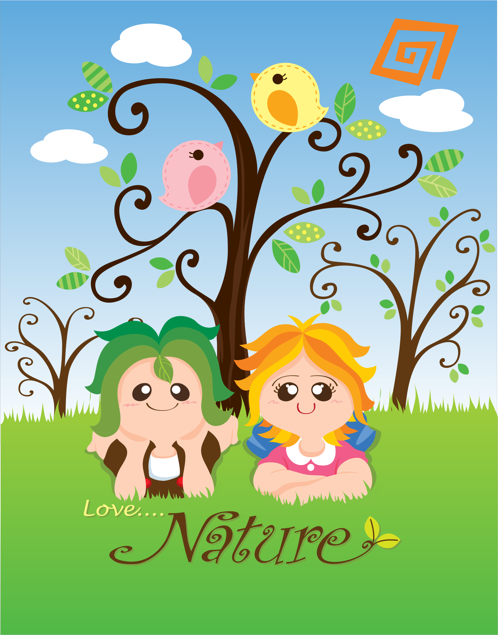 Kids Respecting Nature Clipart.