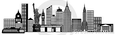 New York City Skyline Panorama Clip Art Royalty Free Stock Image.