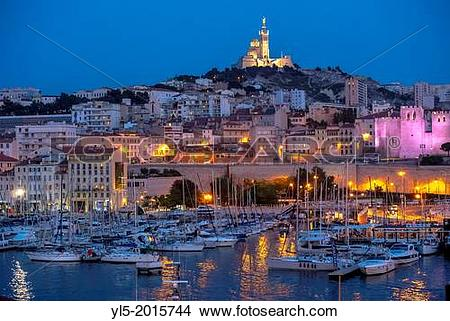 Stock Photo of Marseille, France, Tourists Visiting Vieux Port.
