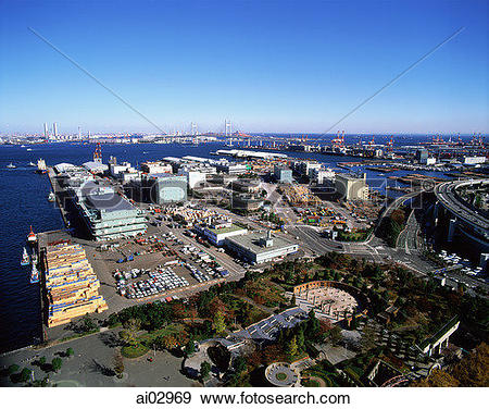 Stock Photograph of Japan, Yokohama, Ariel view of port area.