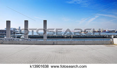 Pictures of Panorama View of Tempozan harborland port area, osaka.