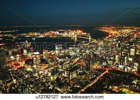 Picture of Night View of Tokyo Port Area, Aerial View, Long.